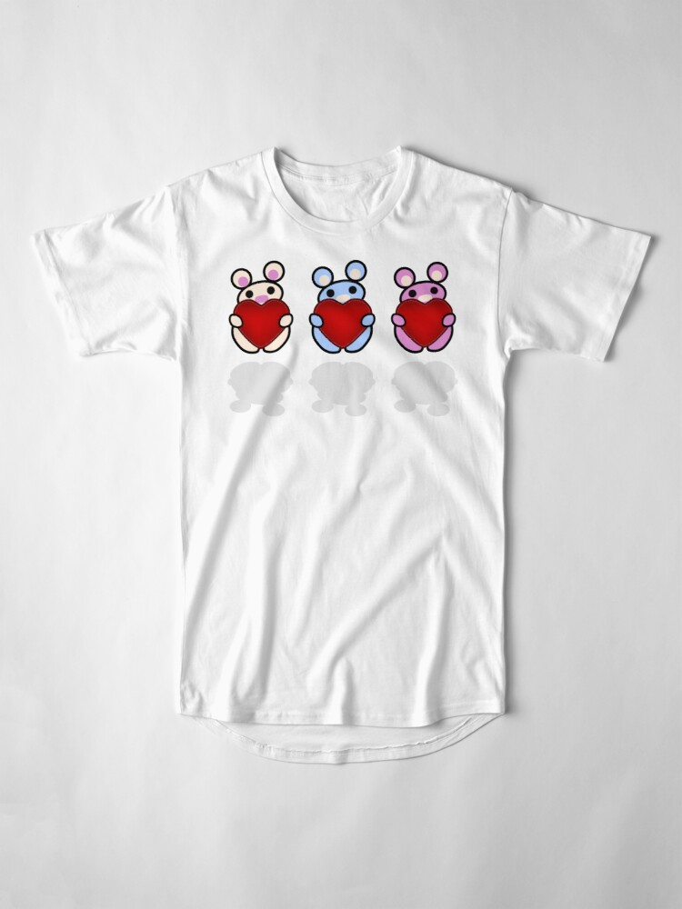 Alternate view of Three Chibis: Hearts Long T-Shirt