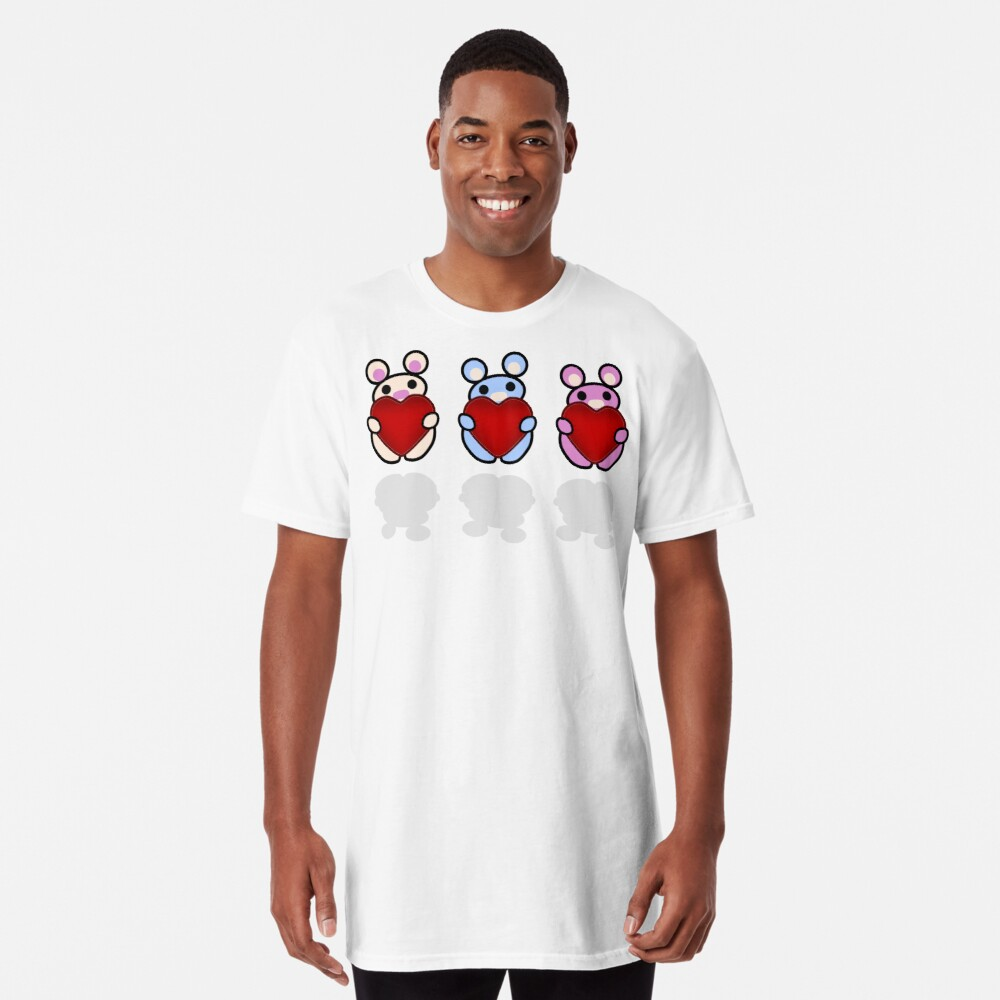 Three Chibis: Hearts Long T-Shirt