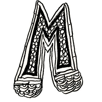 Upper case black and white alphabet M by HEVIFineart