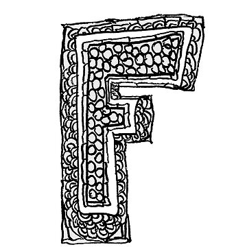 Upper case black and white alphabet Letter F by HEVIFineart