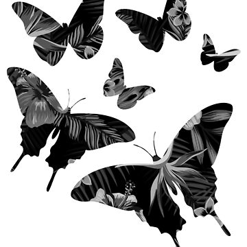 Floral Butterflies Black and Gray by Shasta9876