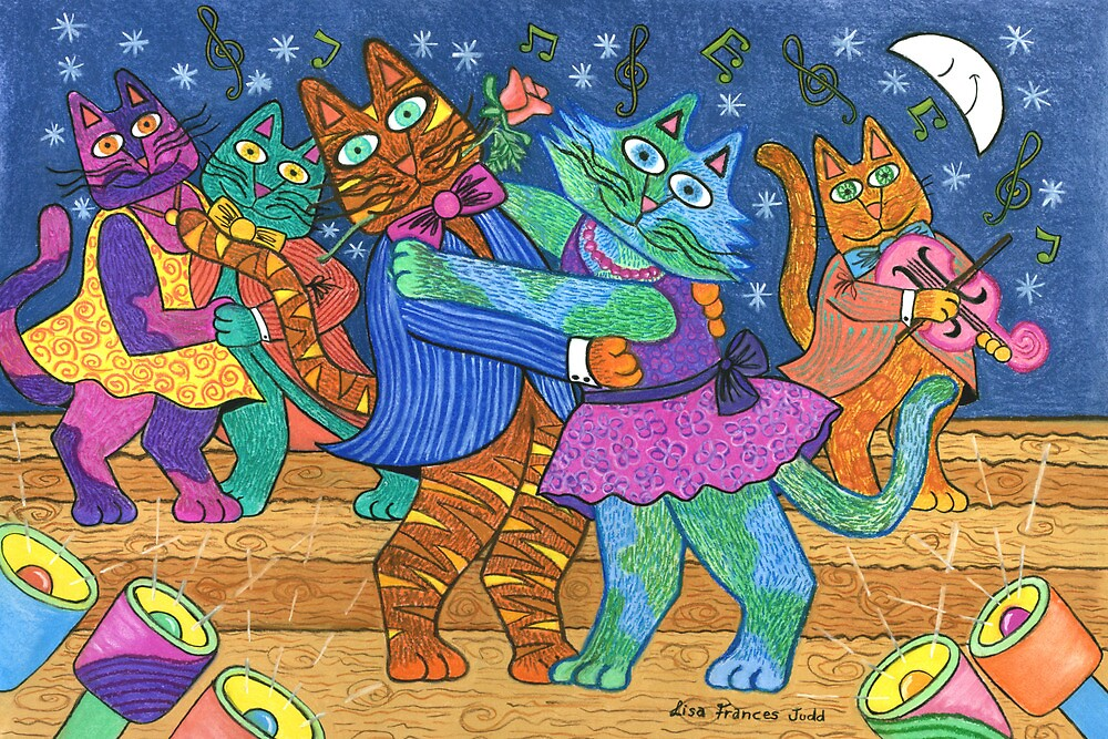 'Cracked Cats' Go Dancing by Lisafrancesjudd