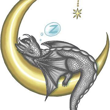 Silver Baby Moon Dragon Tshirt by NicholiCosplay