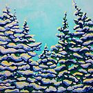 Winter Pines Snowing Snow Flurry Pine Trees Forest Storm Jackie Carpenter Art Tree Cold Gift Gifts Green Aqua Turquoise White Yellow Arctic Landscape by jrcarmax