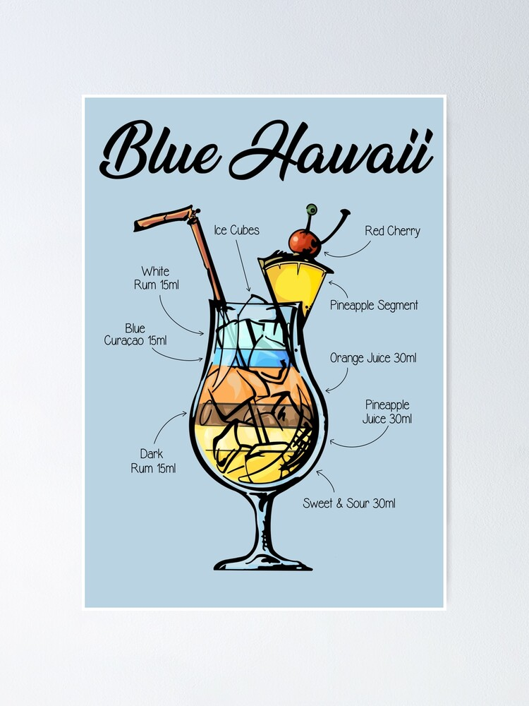 Blue Hawaii Cocktail Recipe Poster By Huckleberryarts Redbubble