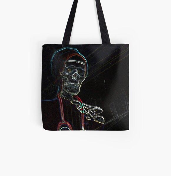 Radioactive Skeleton All Over Print Tote Bag