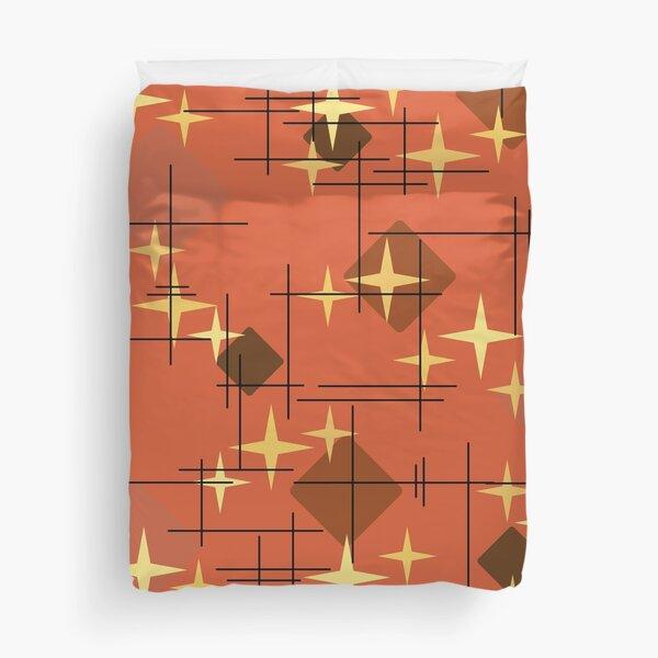 MidCentury Modern Stars & Diamonds Pattern Burnt Orange Duvet Cover