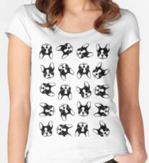 French bulldog pattern Women's Fitted Scoop T-Shirt