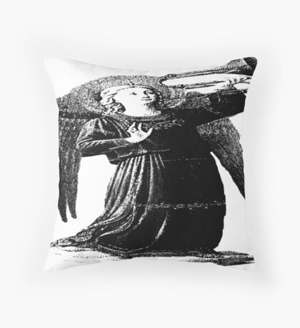 Angel with horn b&w  Throw Pillow