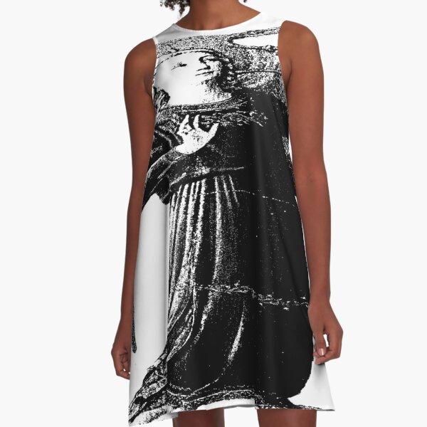 Angel with horn b&w  A-Line Dress