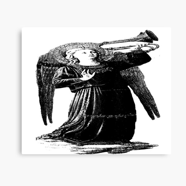 Angel with horn b&w  Canvas Print