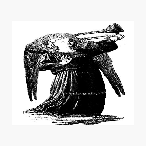 Angel with horn b&w  Photographic Print