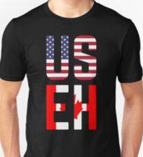 USEH Amerika Kanada Flagge lustige amerikanische Kanadier Slim Fit T-Shirt