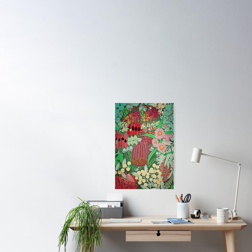 Australian Natives Botanical Pattern Poster