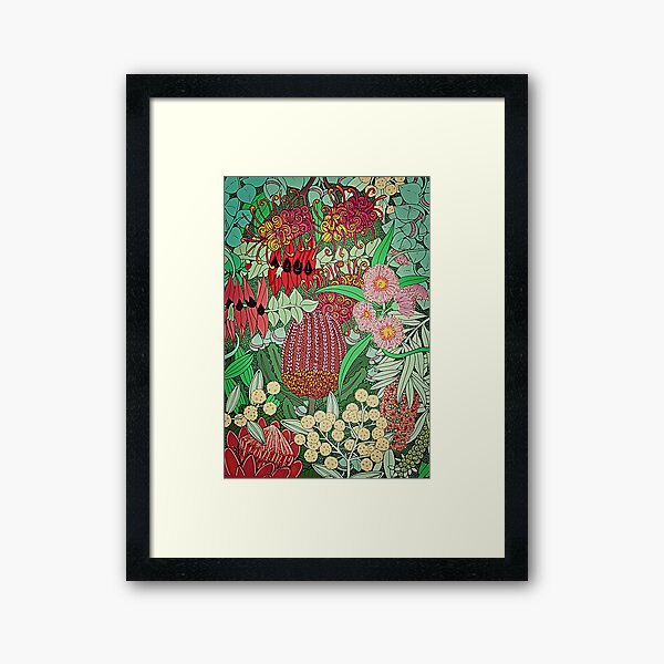 Australian Natives Botanical Pattern Framed Art Print