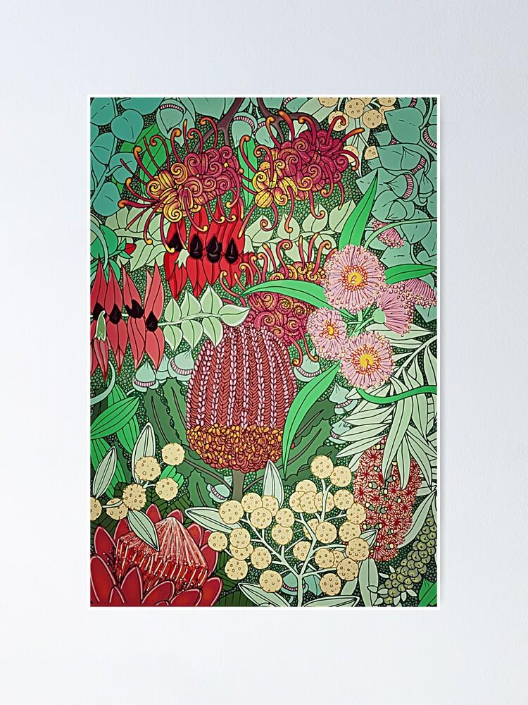 Alternate view of Australian Natives Botanical Pattern Poster