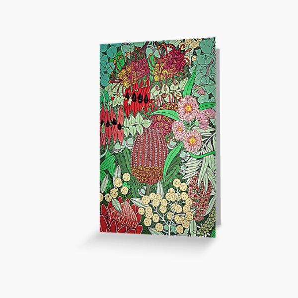 Australian Natives Botanical Pattern Greeting Card