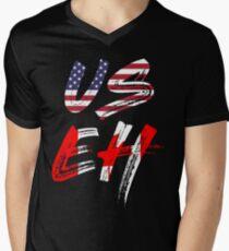 Camiseta de cuello en V Bandera de USEH America Canada Funny American Canadian