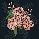 Moody Florals - Coral by latheandquill