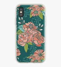 Moody Florals - Teal iPhone Case