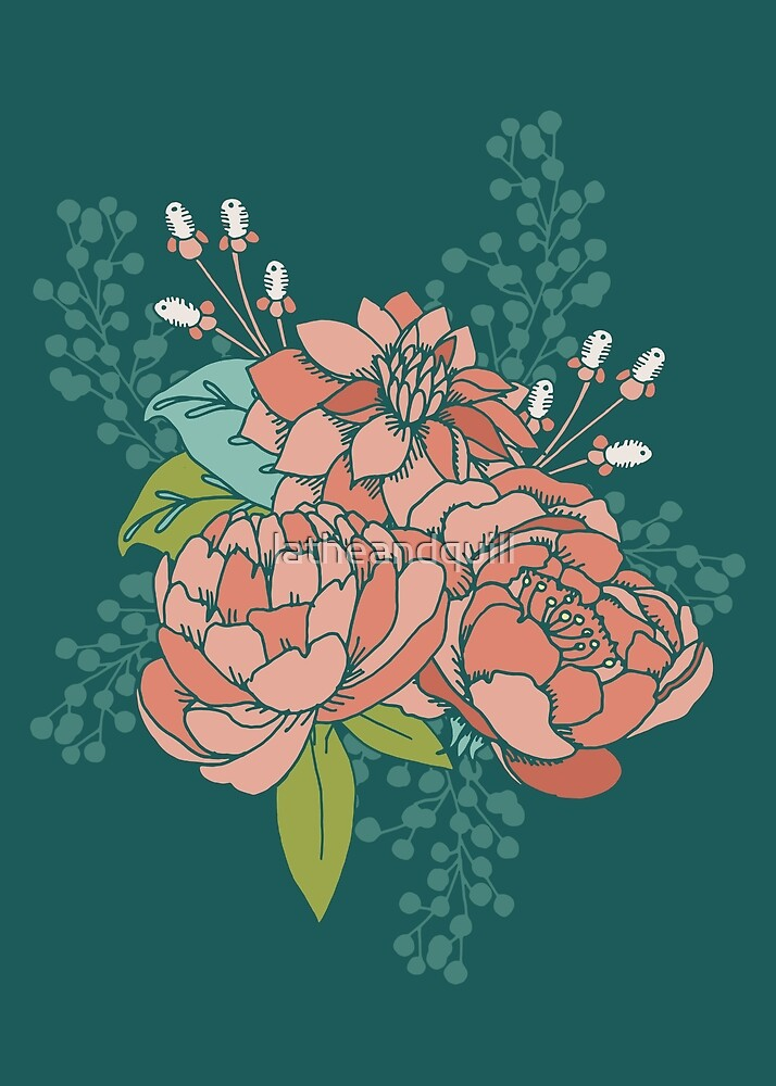 Moody Florals - Teal by latheandquill
