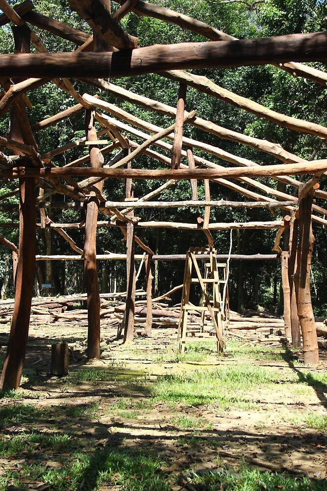Timber Structure - Thakhek, Laos. by Tiffany Lenoir