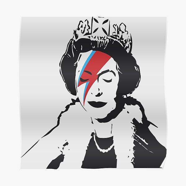 Queen Elizabeth As Ziggy, Banksy, Streetart Street Art, Stardust Grafitti, Artwork, Design For Men, Women, Kids Poster