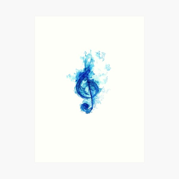 blue flaming note Art Print