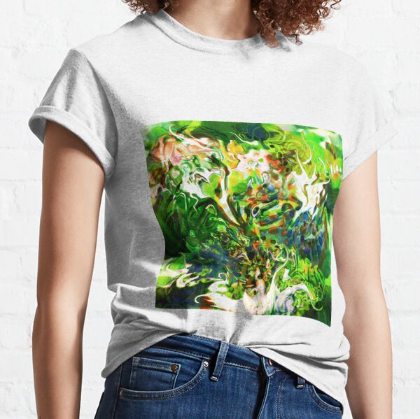 dominant green fluid abstract elements Classic T-Shirt