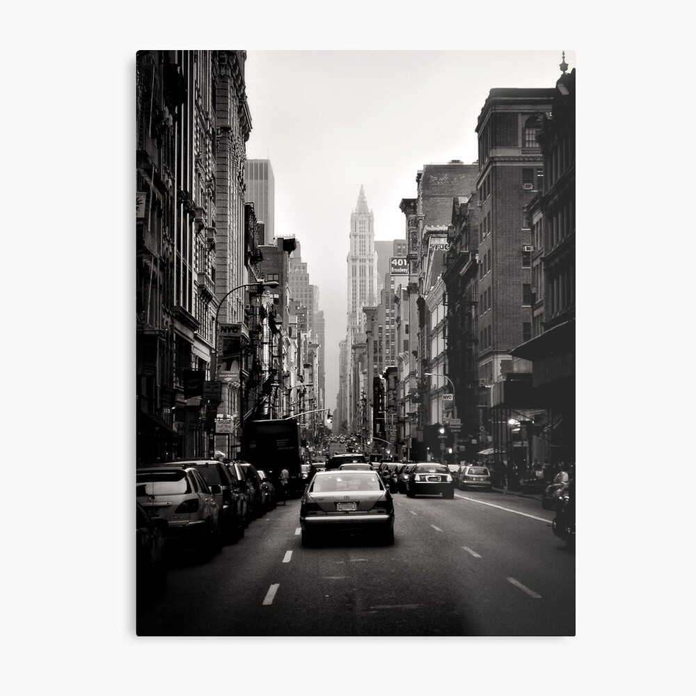 Manhattan avenue in black and white Metal Print