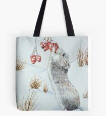 Cute mouse and red berries snow scene wildlife art   Tote Bag
