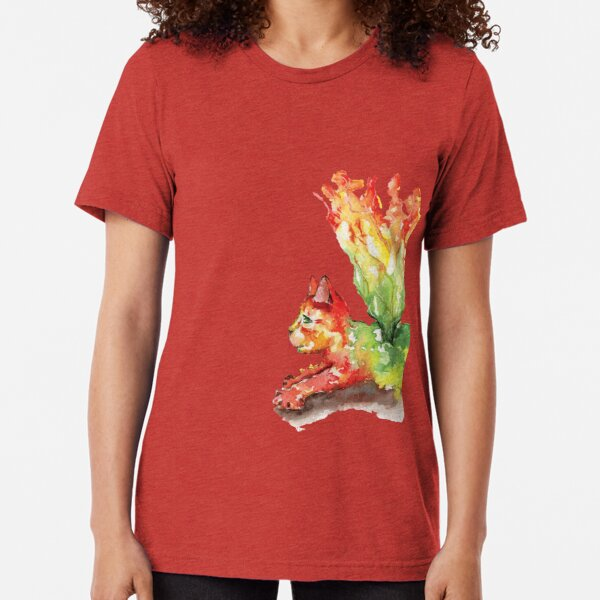 Heart Chakra Cat with Wings Tri-blend T-Shirt