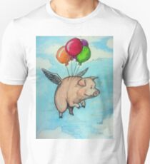 Hand drawing depicting a pig with wings and balloons, I say funny drawing T-Shirt