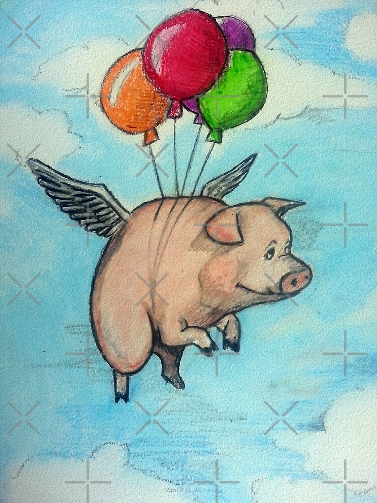 Hand drawing depicting a pig with wings and balloons, I say funny drawing by Desenatorul1976