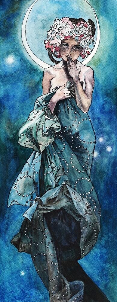 Mondschein inspiriert von Alphonse Mucha von AnnaShell