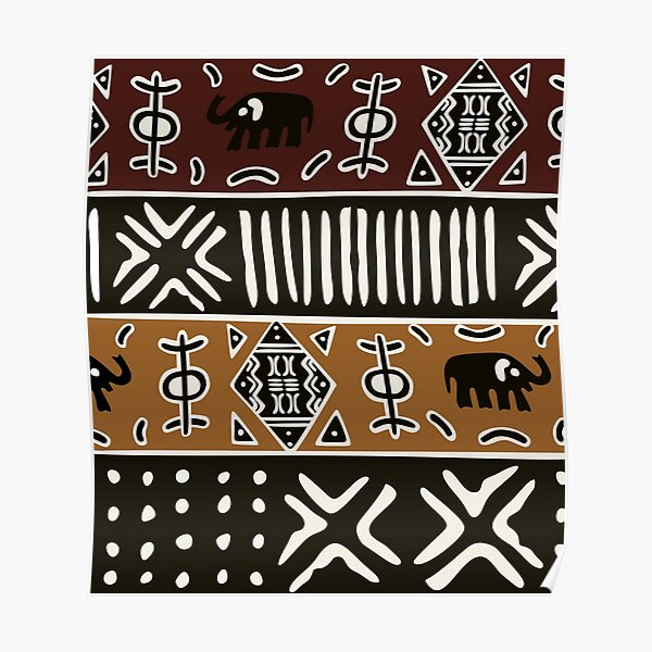 African mud cloth with elephants Poster