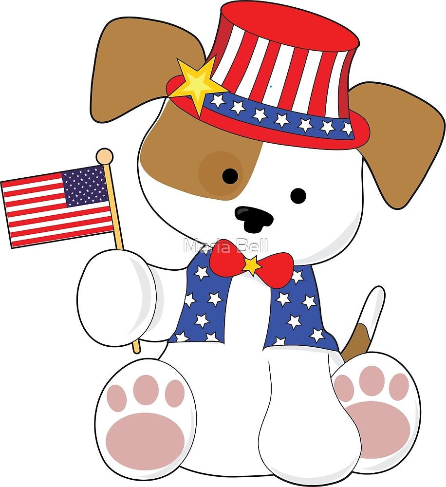 Cute Puppy Fourth of July by Maria Bell