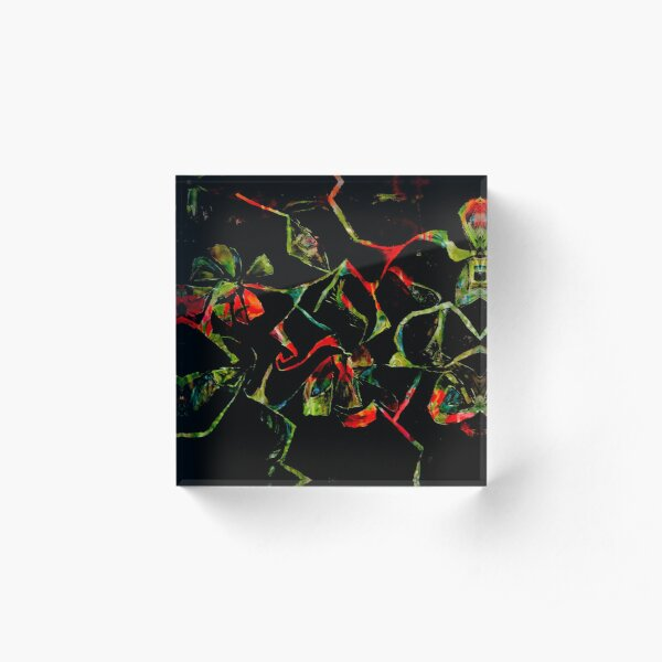 abstract floral shapes on black Acrylic Block