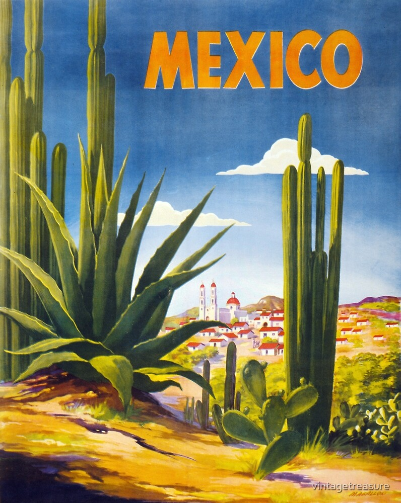 Mexico Vintage Poster Restored by vintagetreasure