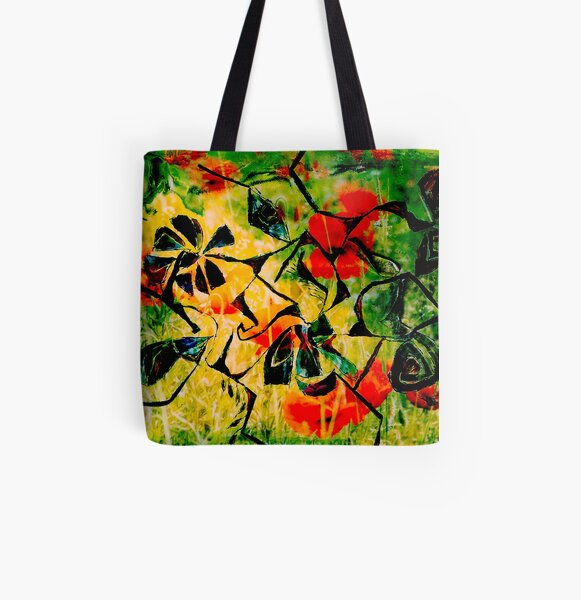 flowery abstract meadow All Over Print Tote Bag
