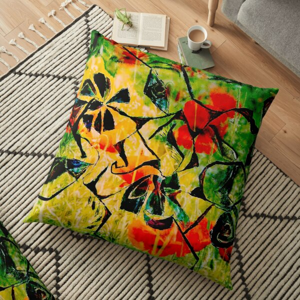 flowery abstract meadow Floor Pillow