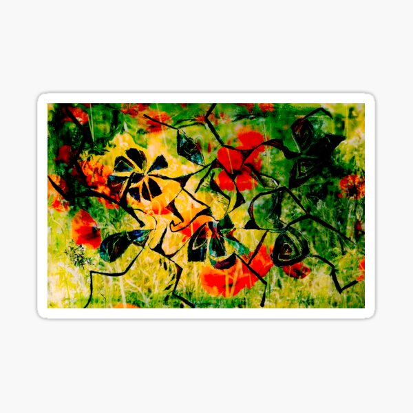 flowery abstract meadow Sticker