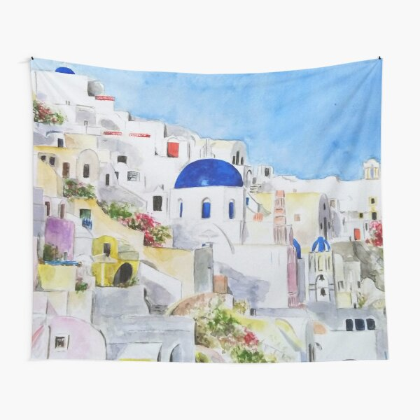 Santoroni Greece Aegean sea watercolor painting Tapestry
