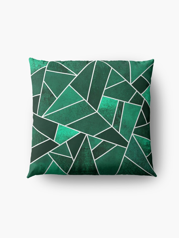 Alternate view of Emerald Stone - White Lines Floor Pillow