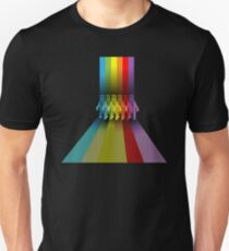 Color: Rainbow Streaks Polar Bear Unisex T-Shirt