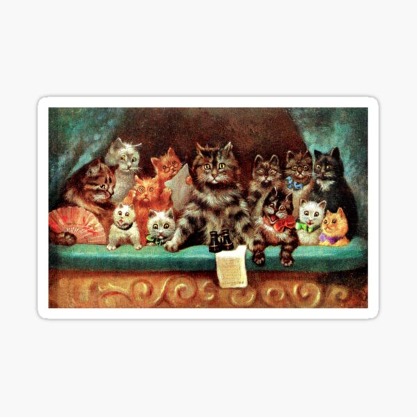 Humanized Cats at the Opera by artist Louis Wain Sticker