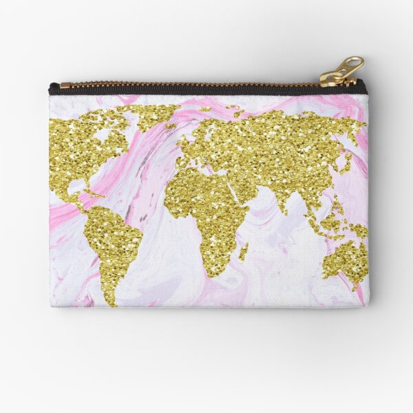 Gold Glitter World Map on Marble Zipper Pouch