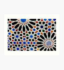 An Arabic (Moorish) tile design at the Alhambra, Andalucia,Spain  Art Print