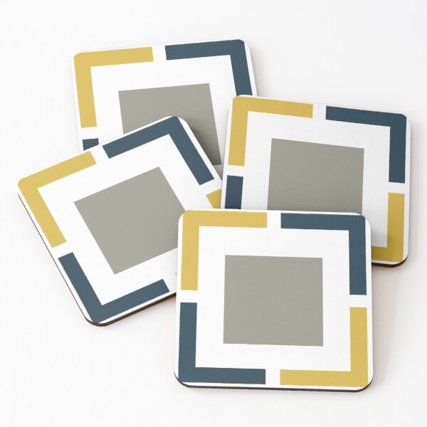 Squared, Geometric Pattern in Light Mustard Yellow, Navy Blue, White, and Grey Coasters (Set of 4)