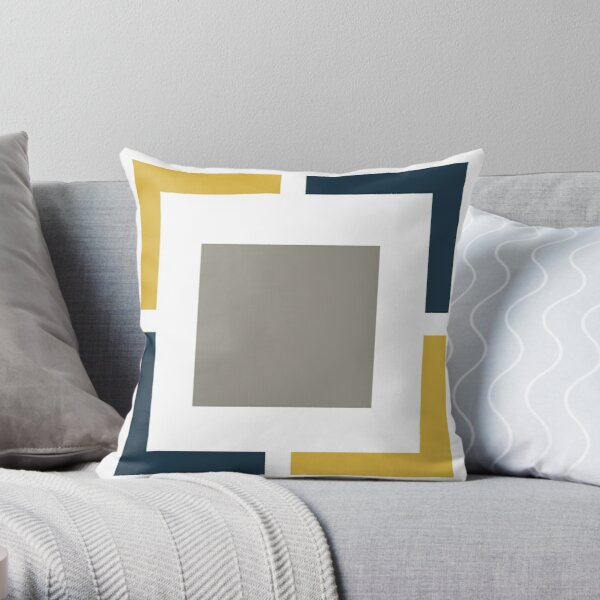 Squared, Geometric Pattern in Light Mustard Yellow, Navy Blue, White, and Grey Throw Pillow